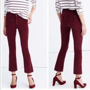 Madewell Maroon The Cali-Demi Boot Cropped Jean A5